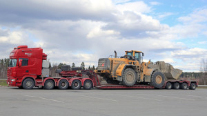 Scania 164G Semi Truck Transports Wheel Loader as Oversize Load