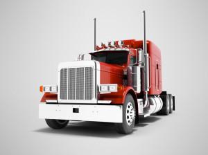 Modern red dump truck for transportation of trailers 3d render o