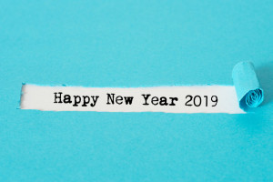 104507737 - a note with the slogan happy new year 2019