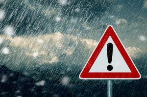 29307450 - bad weather - caution - warning sign