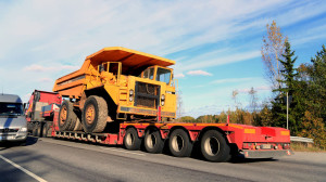 Volvo BM 540 Rigid Dump Truck on Truck Trailer as Wide Load